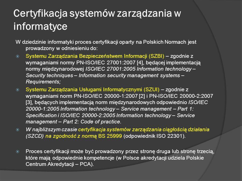Certyfikacja systemów zarządzania w informatyce