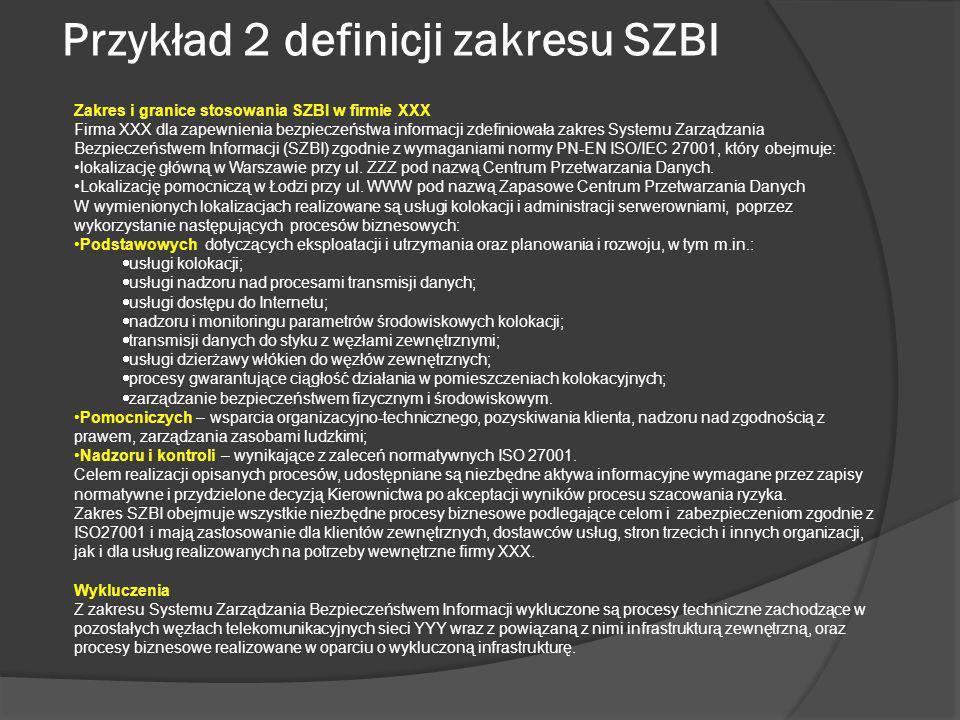 Przykład 2 definicji zakresu SZBI