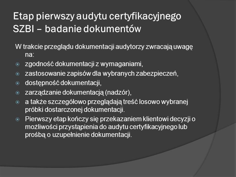 Etap pierwszy audytu certyfikacyjnego SZBI – badanie dokumentów