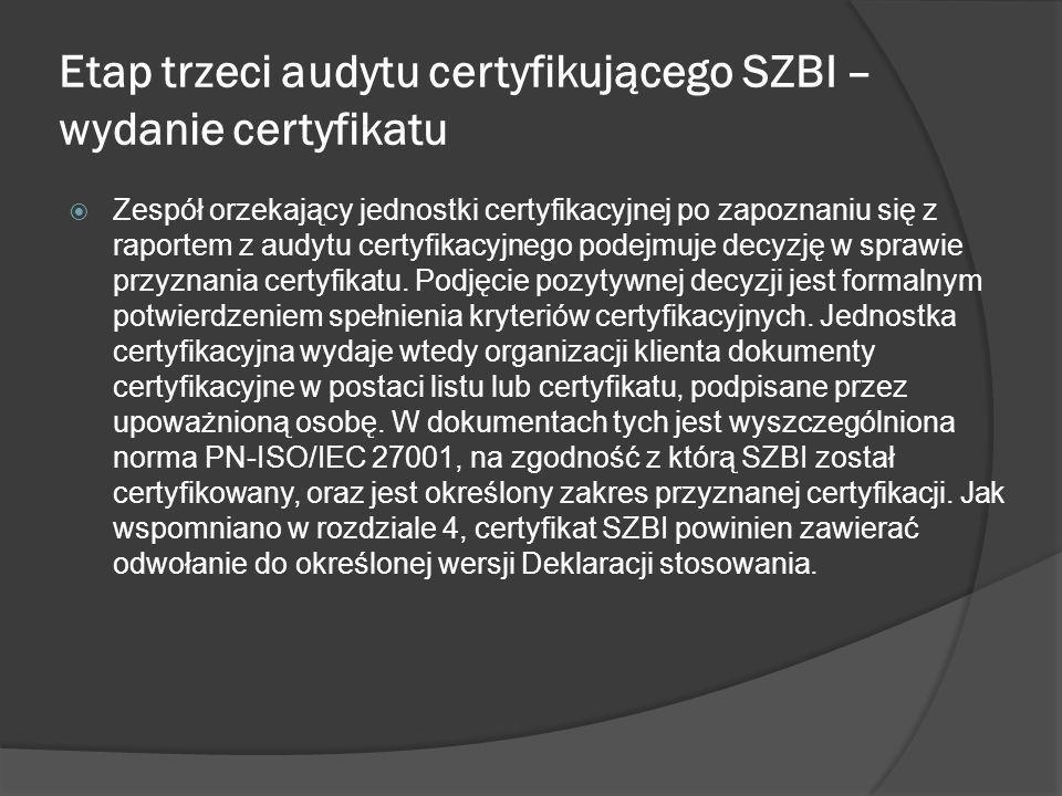 Etap trzeci audytu certyfikującego SZBI – wydanie certyfikatu