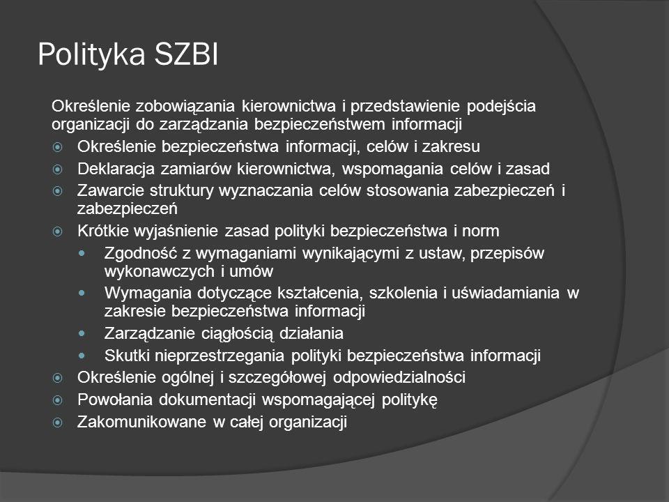 Polityka SZBI Określenie zobowiązania kierownictwa i przedstawienie podejścia organizacji do zarządzania bezpieczeństwem informacji.