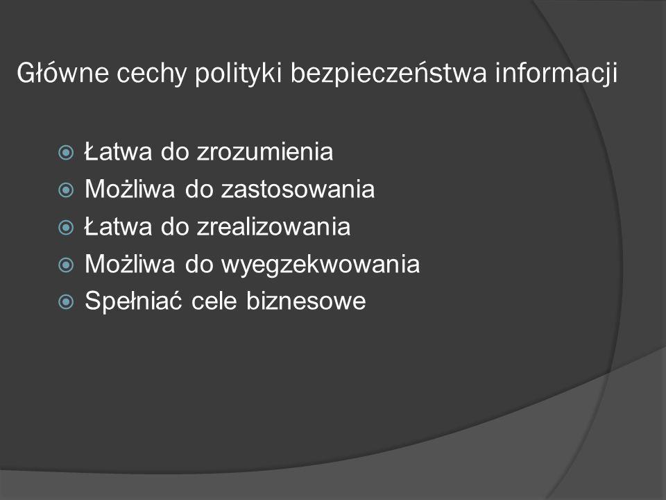 Główne cechy polityki bezpieczeństwa informacji