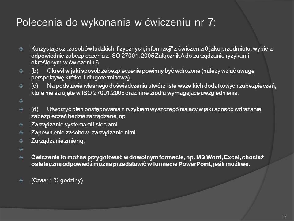 Polecenia do wykonania w ćwiczeniu nr 7: