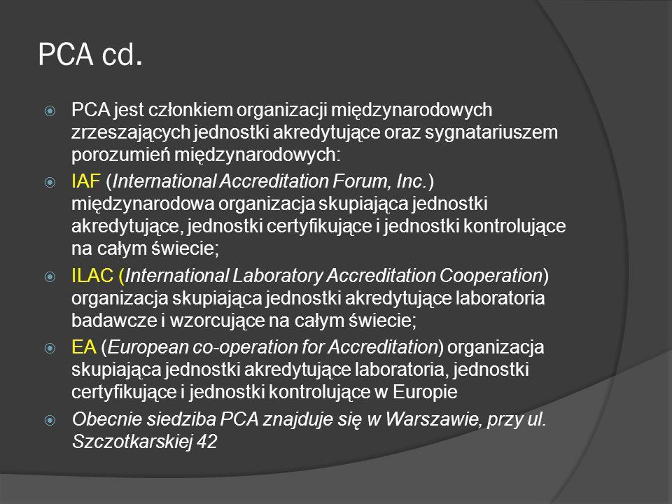 PCA cd. PCA jest członkiem organizacji międzynarodowych zrzeszających jednostki akredytujące oraz sygnatariuszem porozumień międzynarodowych:
