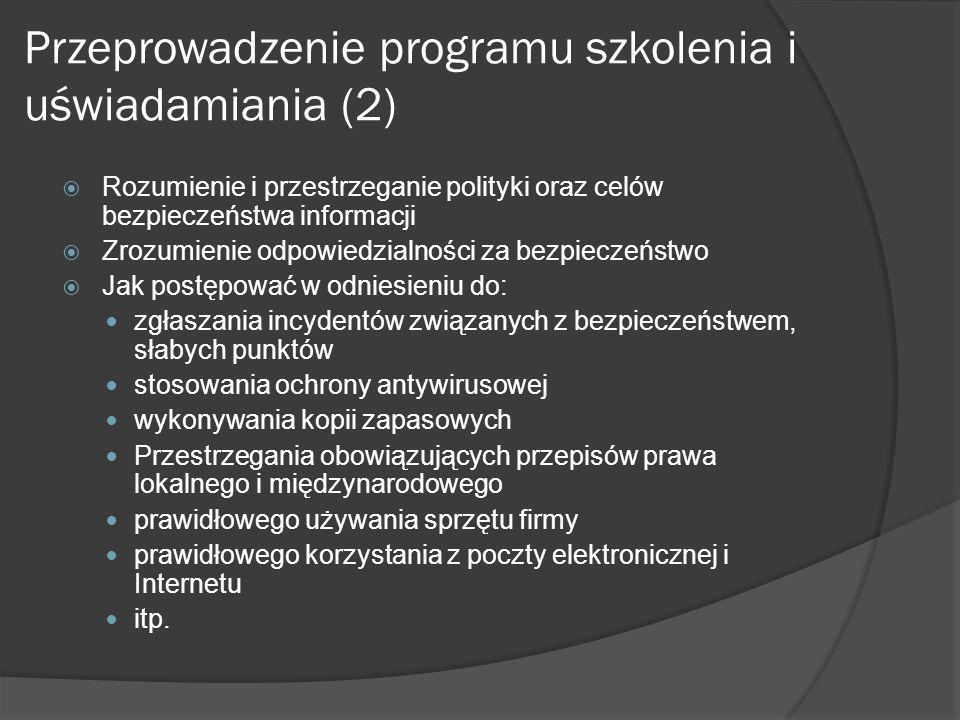 Przeprowadzenie programu szkolenia i uświadamiania (2)