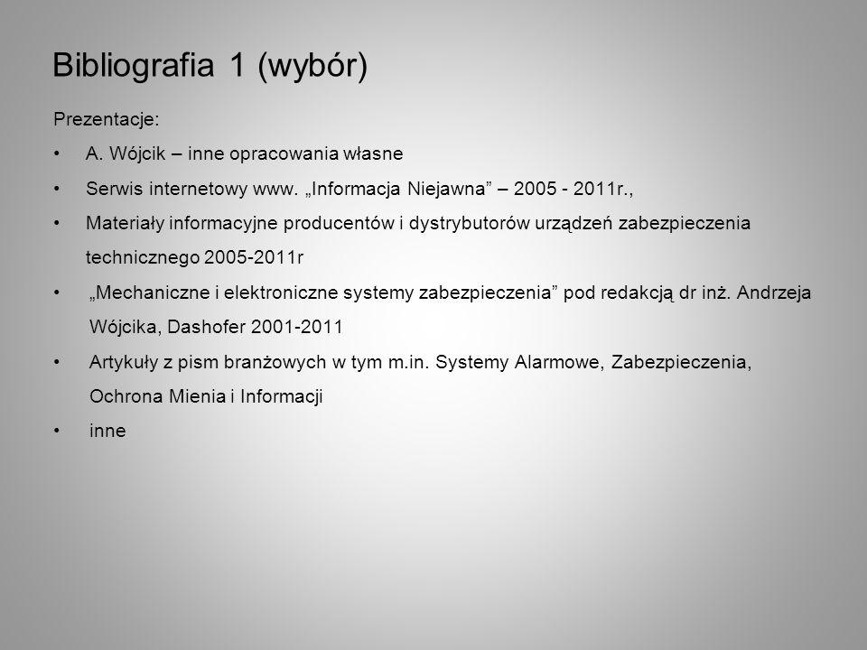 Bibliografia 1 (wybór) Prezentacje: