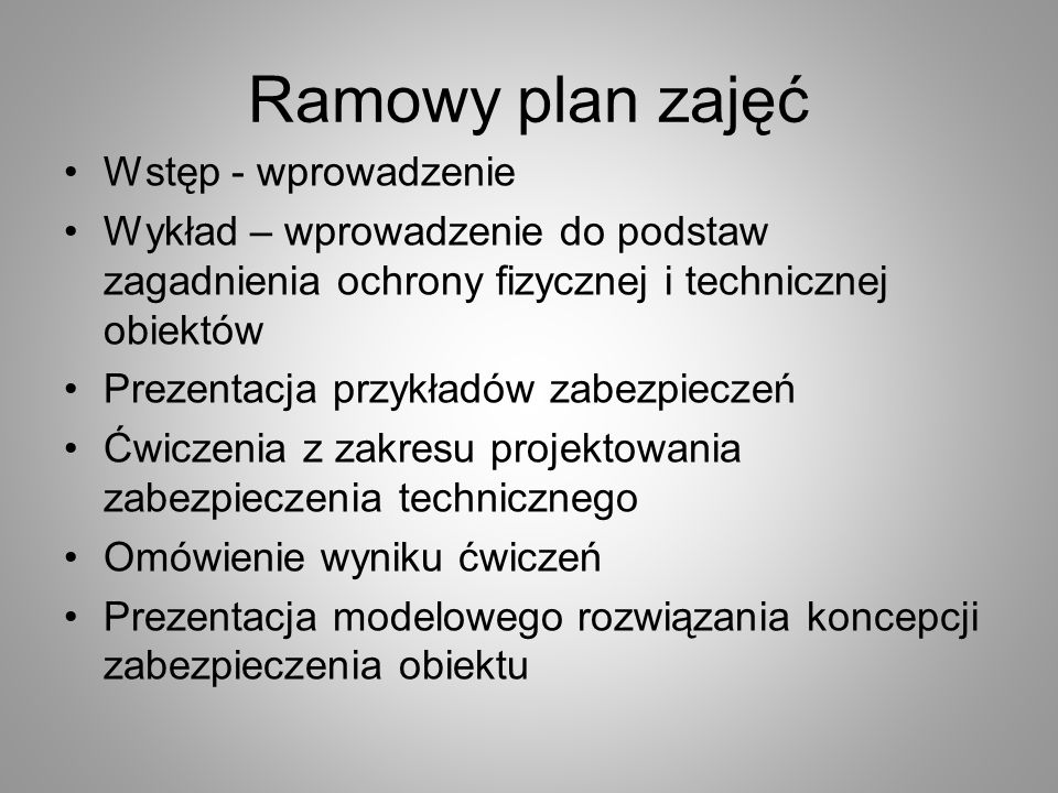 Ramowy plan zajęć Wstęp - wprowadzenie
