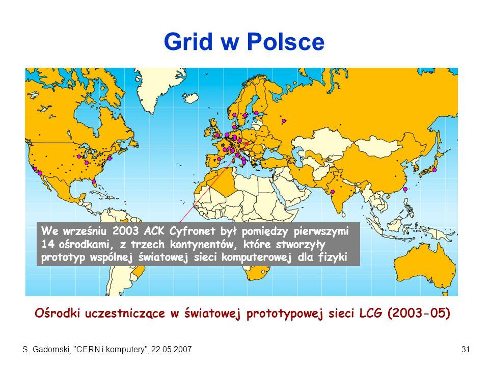 Ośrodki uczestniczące w światowej prototypowej sieci LCG (2003-05)