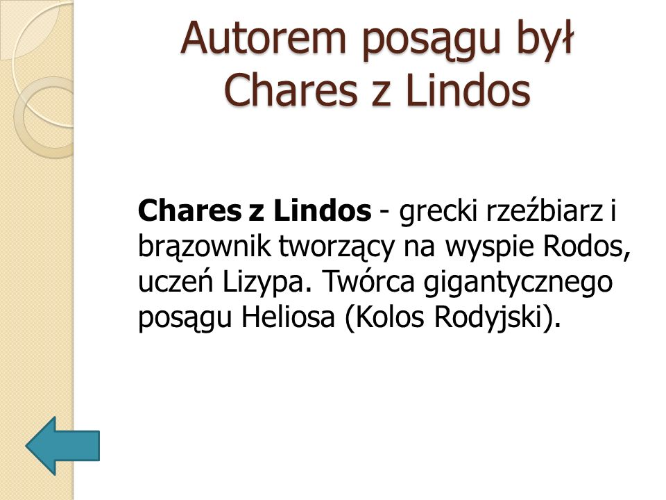 Autorem posągu był Chares z Lindos