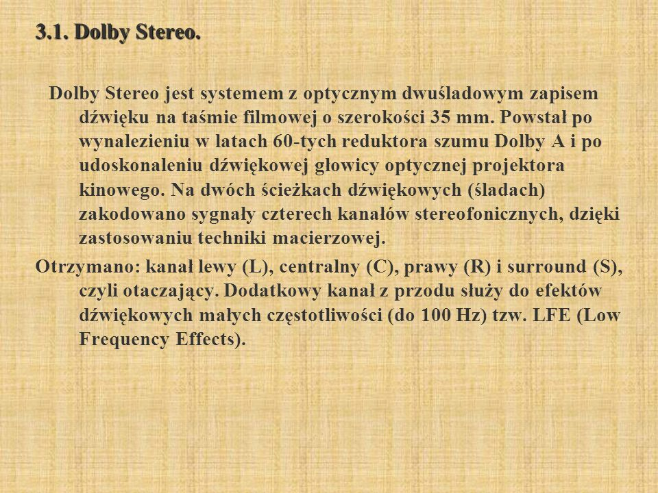 3.1. Dolby Stereo.