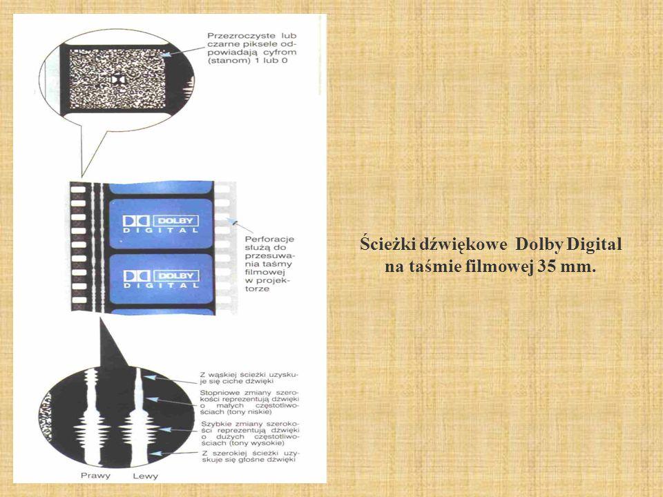 Ścieżki dźwiękowe Dolby Digital na taśmie filmowej 35 mm.