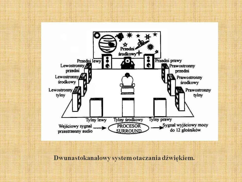 Dwunastokanałowy system otaczania dźwiękiem.