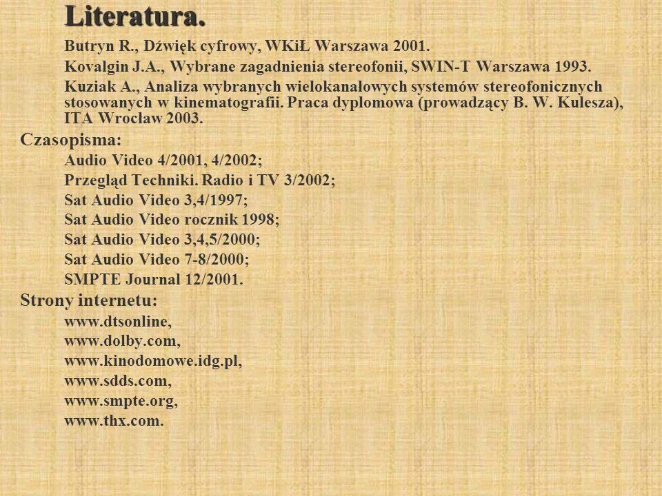 Butryn R., Dźwięk cyfrowy, WKiŁ Warszawa 2001.