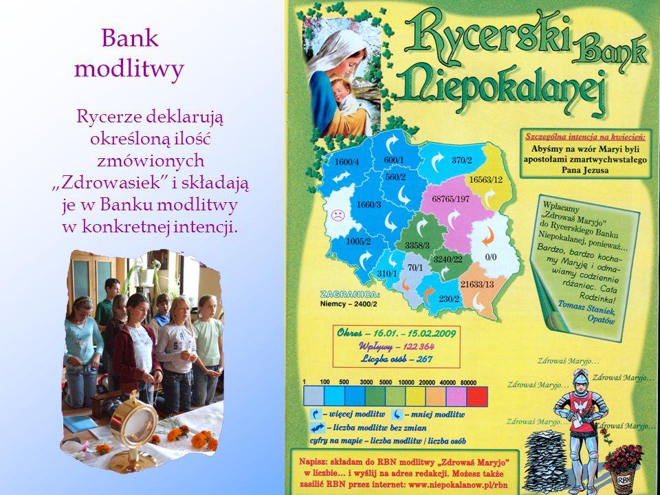 """Bank modlitwy Rycerze deklarują określoną ilość zmówionych """"Zdrowasiek i składają je w Banku modlitwy w konkretnej intencji."""
