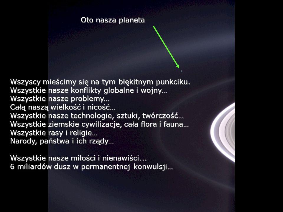 Oto nasza planeta Wszyscy mieścimy się na tym błękitnym punkciku. Wszystkie nasze konflikty globalne i wojny…