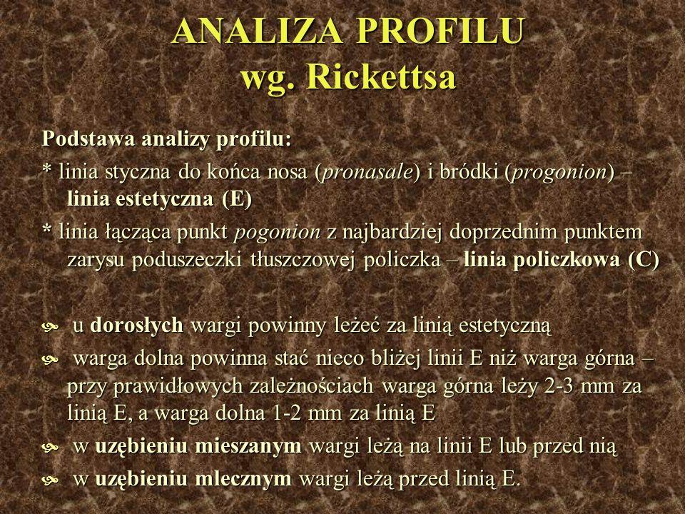 ANALIZA PROFILU wg. Rickettsa