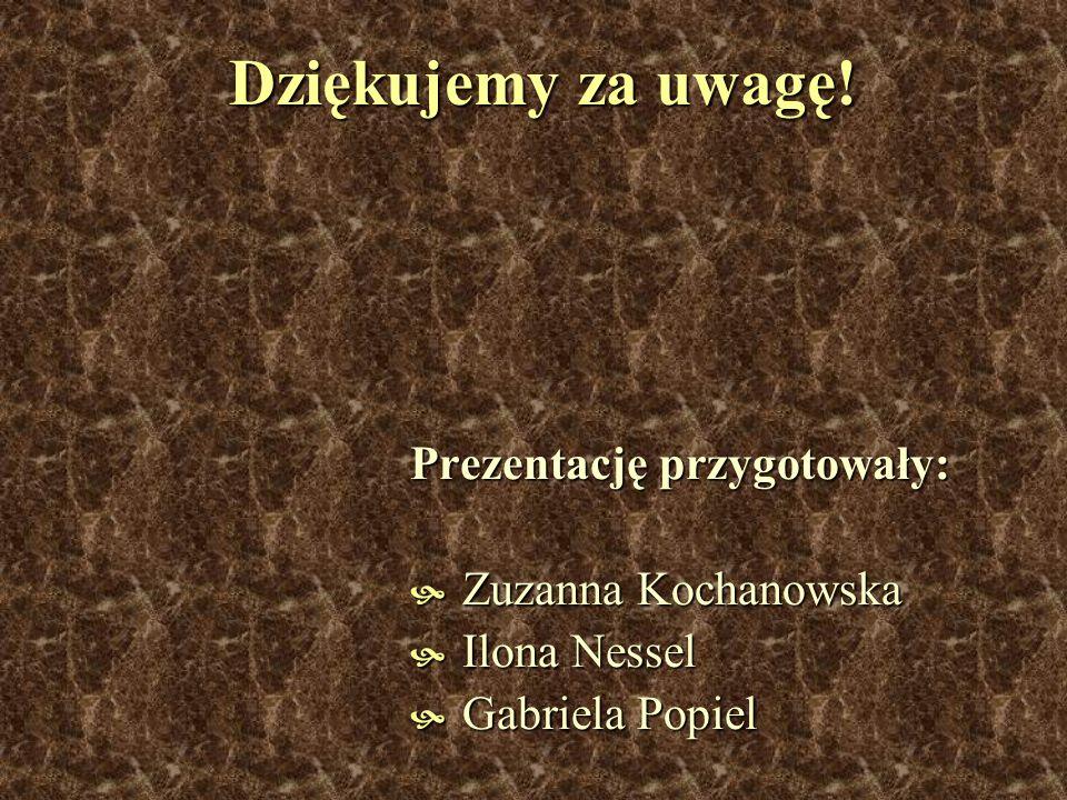Dziękujemy za uwagę! Prezentację przygotowały: Zuzanna Kochanowska