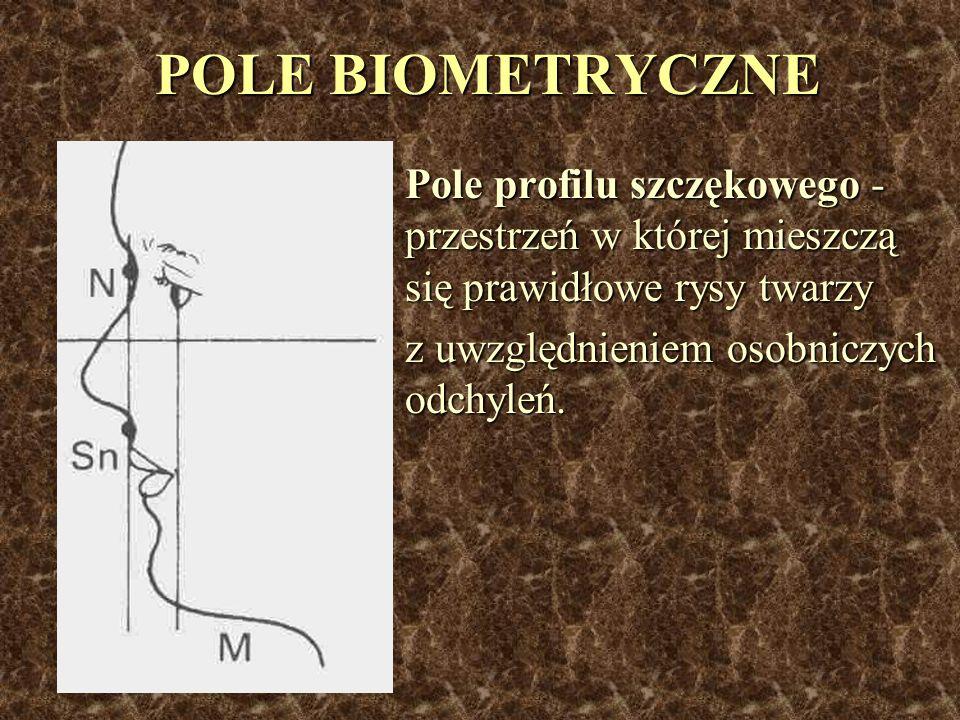 POLE BIOMETRYCZNE Pole profilu szczękowego - przestrzeń w której mieszczą się prawidłowe rysy twarzy.