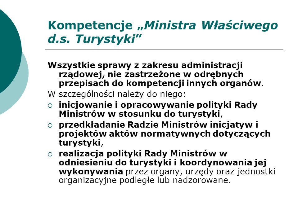"""Kompetencje """"Ministra Właściwego d.s. Turystyki"""