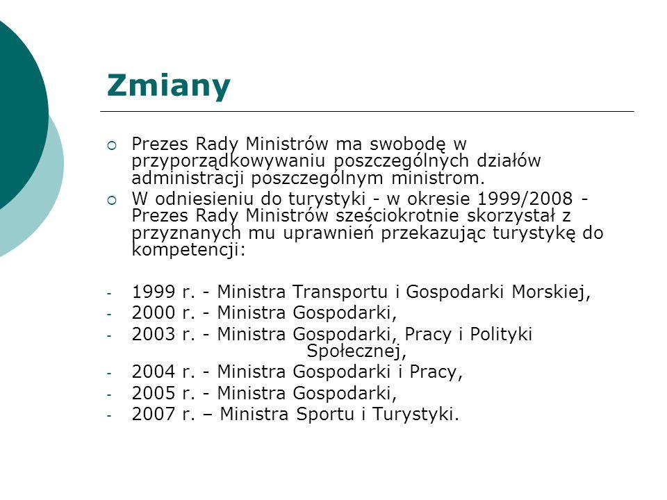 Zmiany Prezes Rady Ministrów ma swobodę w przyporządkowywaniu poszczególnych działów administracji poszczególnym ministrom.