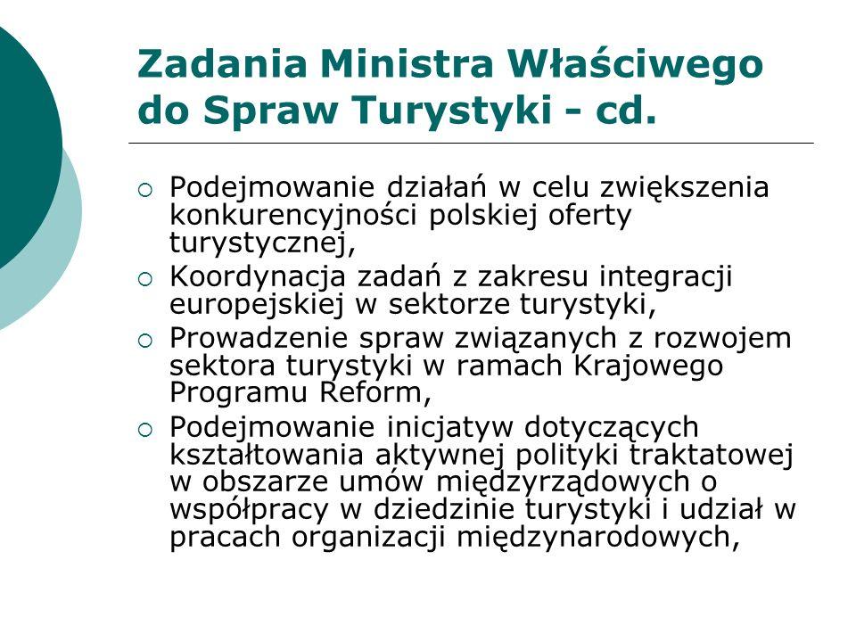 Zadania Ministra Właściwego do Spraw Turystyki - cd.