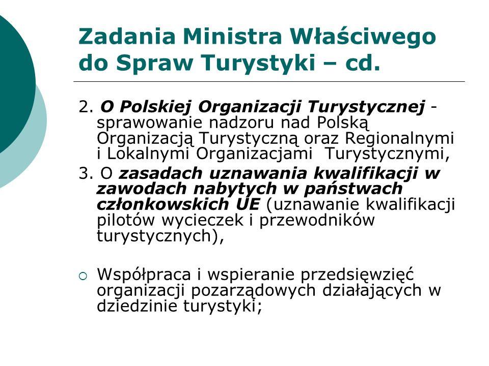 Zadania Ministra Właściwego do Spraw Turystyki – cd.