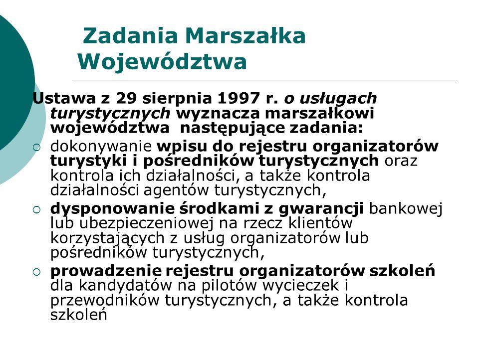 Zadania Marszałka Województwa