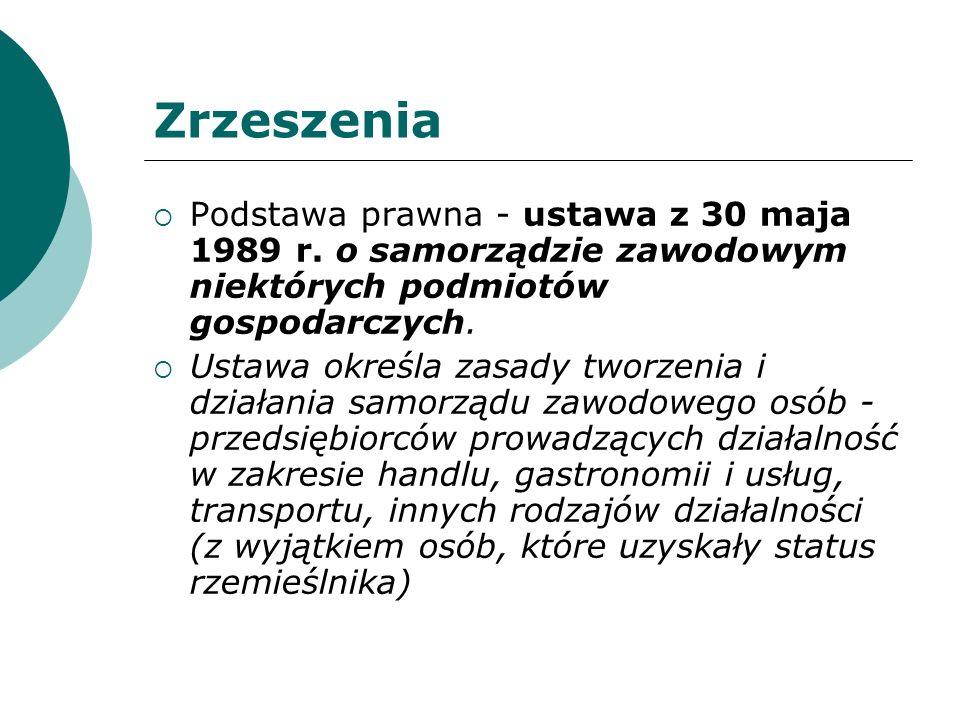Zrzeszenia Podstawa prawna - ustawa z 30 maja 1989 r. o samorządzie zawodowym niektórych podmiotów gospodarczych.