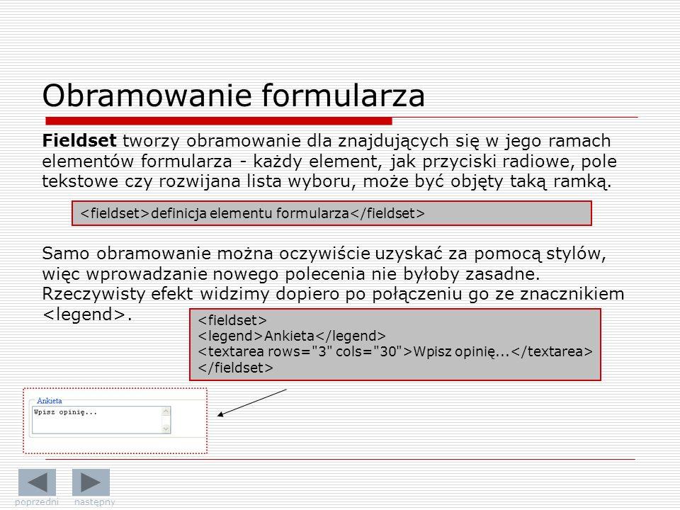 Obramowanie formularza