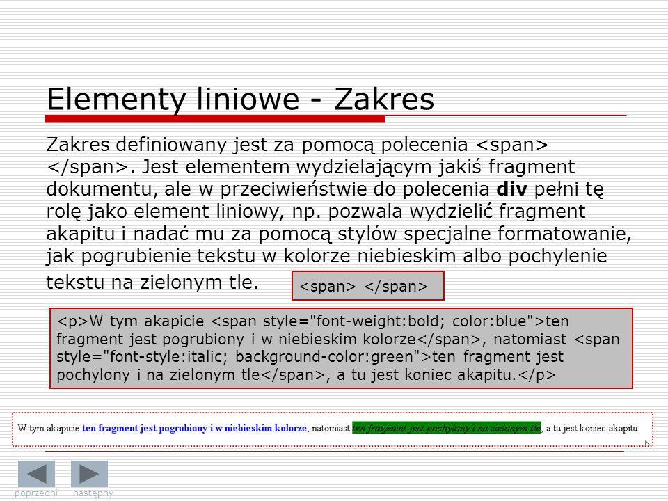 Elementy liniowe - Zakres