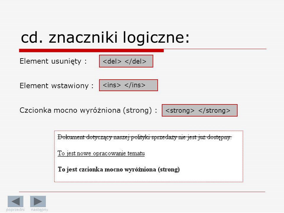 cd. znaczniki logiczne: