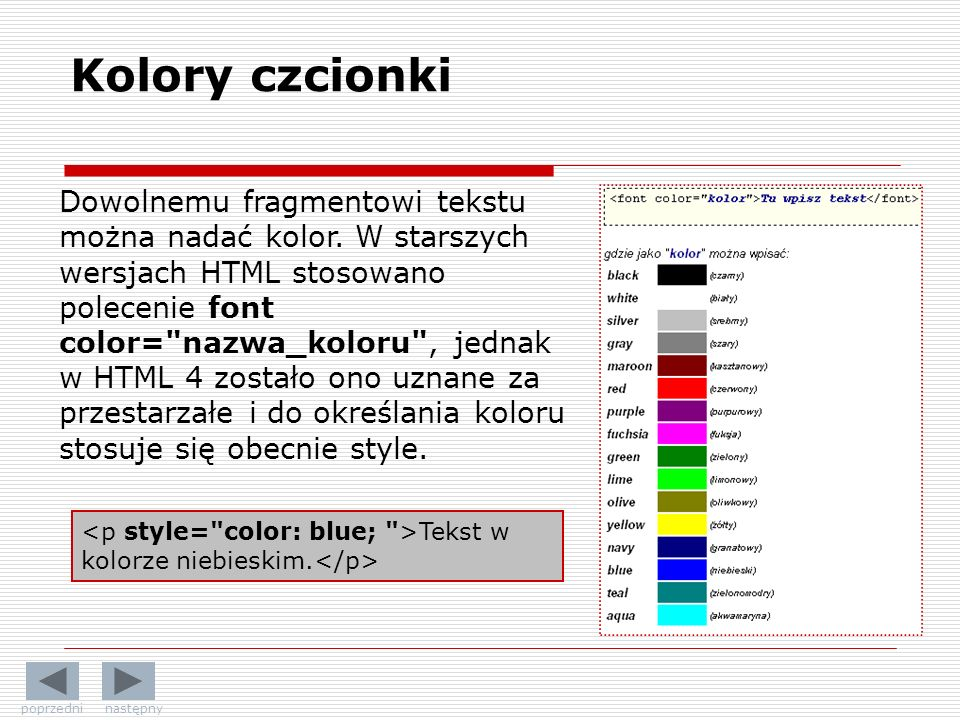 Kolory czcionki