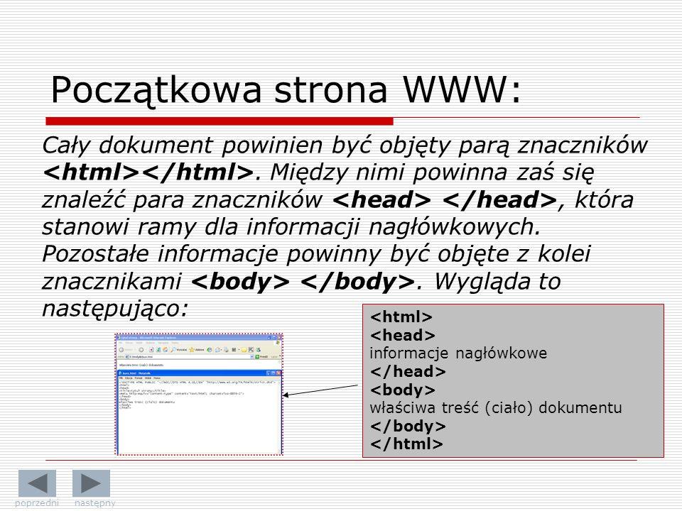 Początkowa strona WWW: