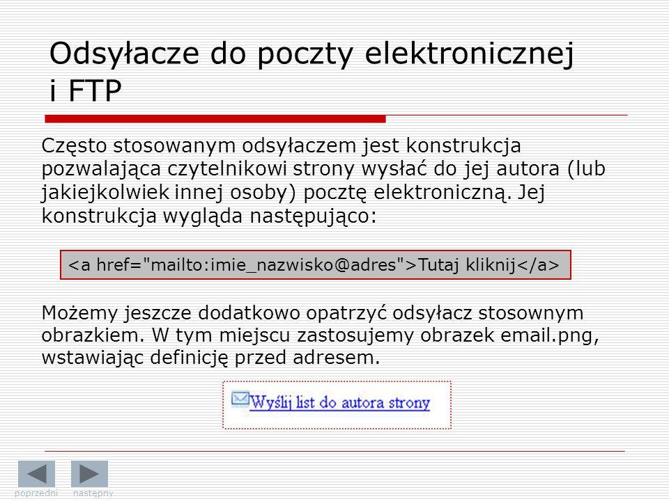 Odsyłacze do poczty elektronicznej i FTP