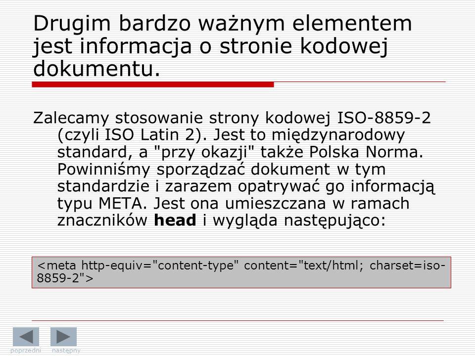 Drugim bardzo ważnym elementem jest informacja o stronie kodowej dokumentu.