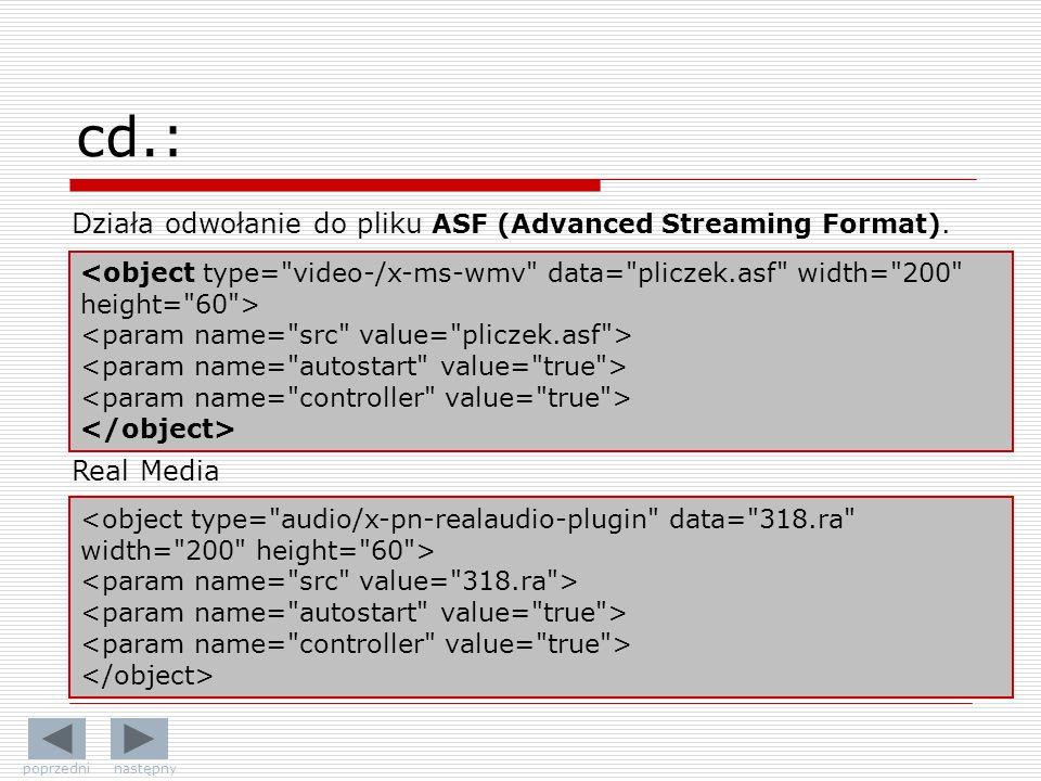 cd.: Działa odwołanie do pliku ASF (Advanced Streaming Format).