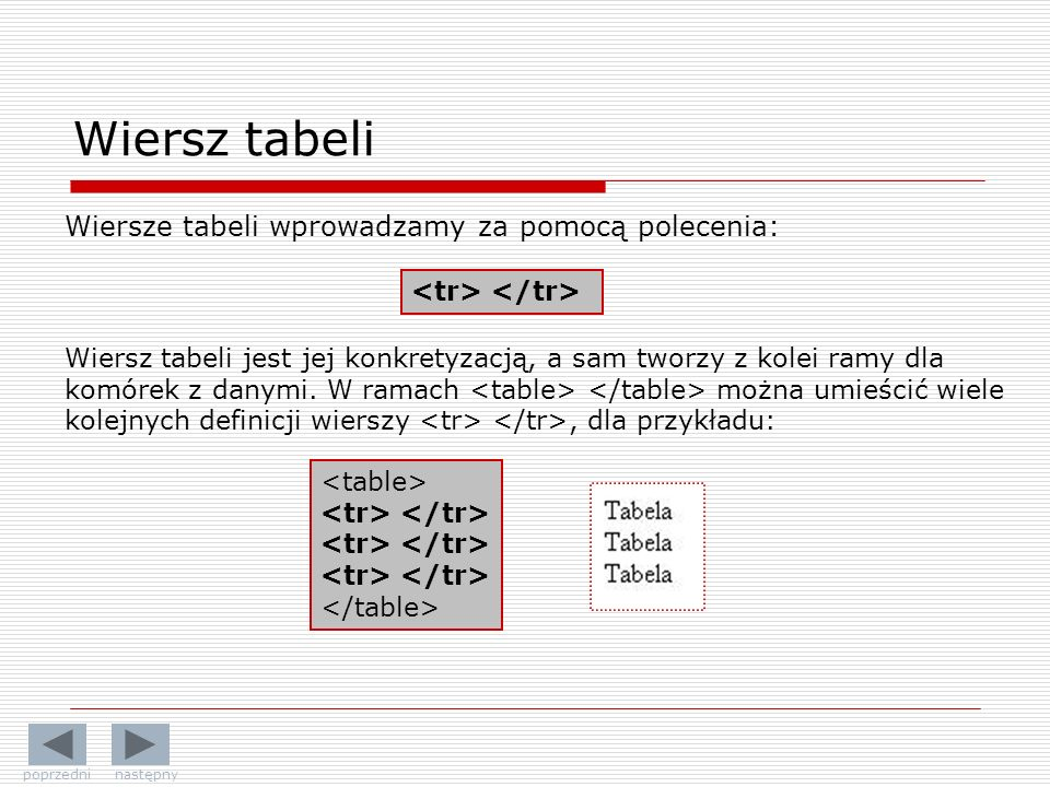 Wiersz tabeli Wiersze tabeli wprowadzamy za pomocą polecenia: