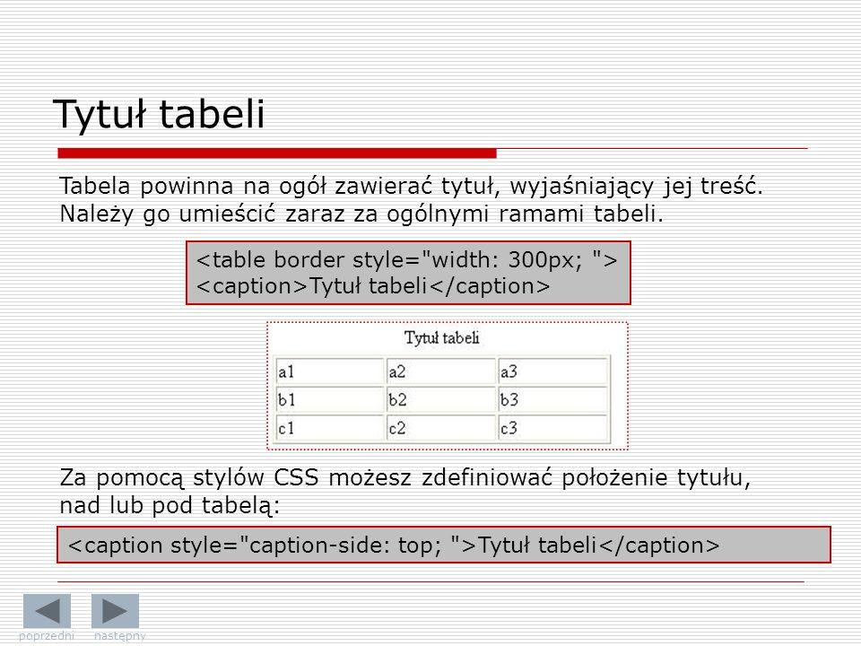 Tytuł tabeli Tabela powinna na ogół zawierać tytuł, wyjaśniający jej treść. Należy go umieścić zaraz za ogólnymi ramami tabeli.