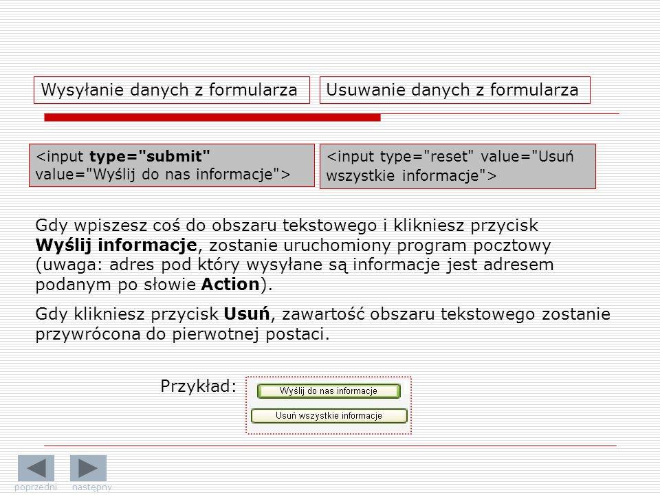 Wysyłanie danych z formularza Usuwanie danych z formularza