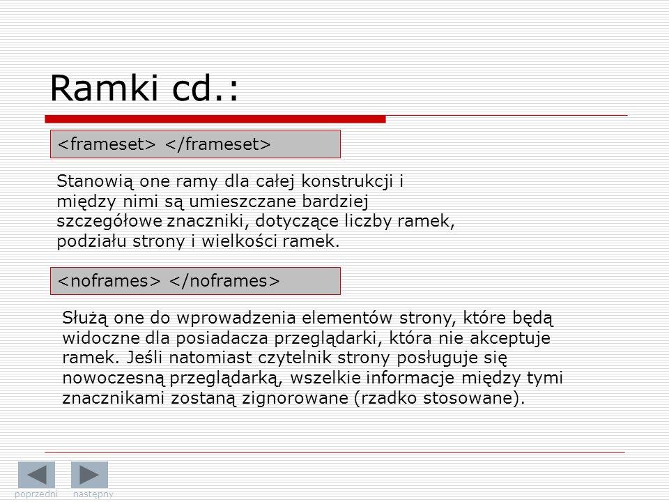Ramki cd.: <frameset> </frameset>