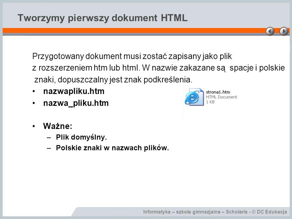Tworzymy pierwszy dokument HTML
