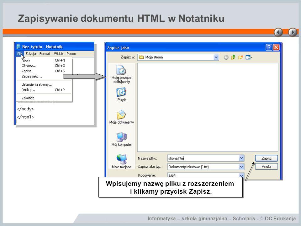 Zapisywanie dokumentu HTML w Notatniku