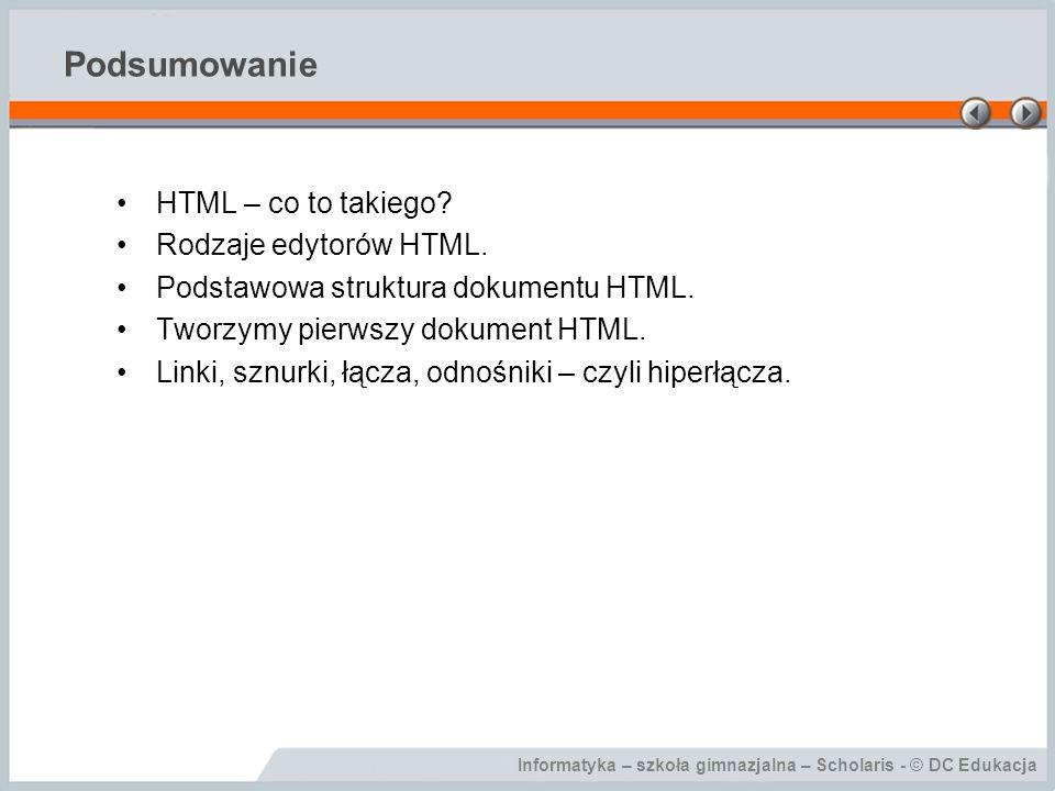 Podsumowanie HTML – co to takiego Rodzaje edytorów HTML.