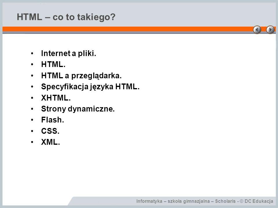 HTML – co to takiego Internet a pliki. HTML. HTML a przeglądarka.