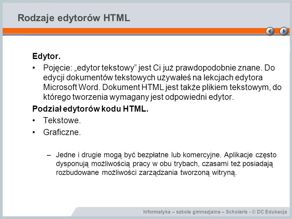 Rodzaje edytorów HTML Edytor.