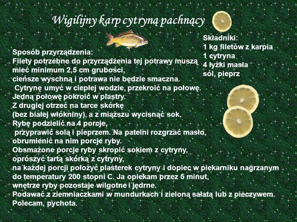 Wigilijny karp cytryną pachnący
