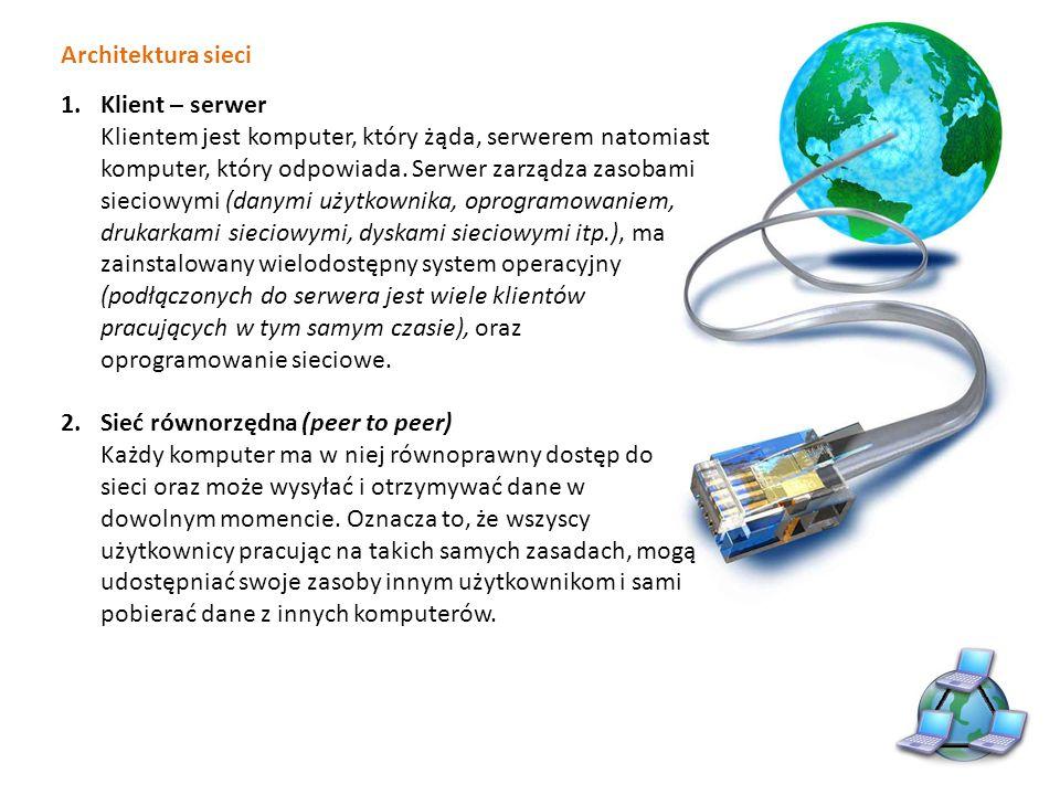 Architektura sieci Klient – serwer.