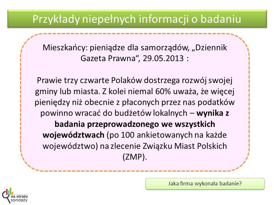 Przykłady niepełnych informacji o badaniu