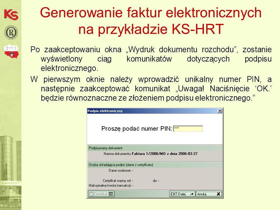 Generowanie faktur elektronicznych na przykładzie KS-HRT