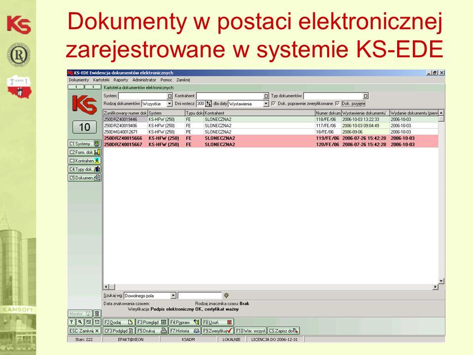 Dokumenty w postaci elektronicznej zarejestrowane w systemie KS-EDE